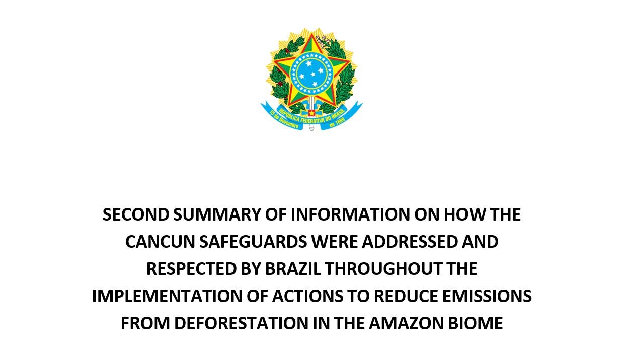 Brasil encaminha II Sumário sobre Salvaguardas à UNFCCC